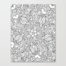 A Doodle a Day Color or Paint Your Own Canvas Print