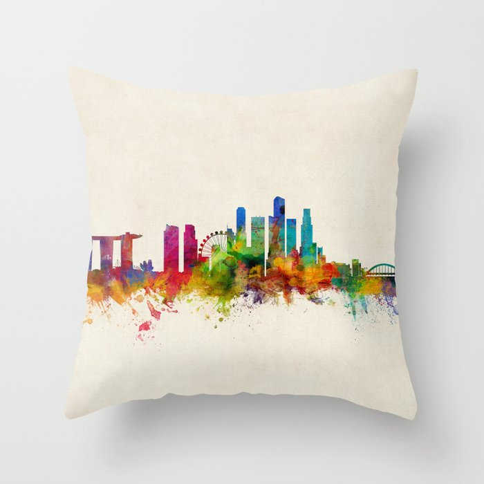 Singapore Skyline Throw Pillow by artpause