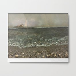 St Mary's Lighthouse Stormy Day Metal Print