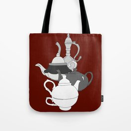 Cascading Teapots in Red Tote Bag
