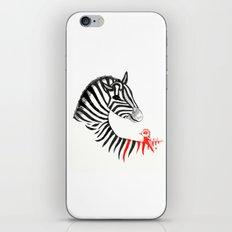 Black Zebra and Orange Bird iPhone & iPod Skin