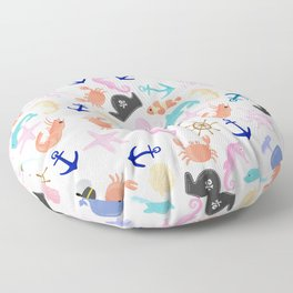 Cute trendy pink teal colorful marine nautical pattern Floor Pillow