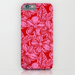 Bold Textured Cherry Red and Pink Linework Floral iPhone Case