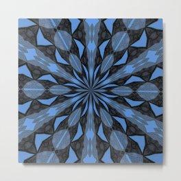 Blue Steel and Black Fragmented Kaleidoscope Metal Print