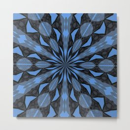 Blue Steel and Black Fragmented Kaleidoscope Metal Print