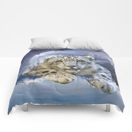 Snow Leopard and Moon Comforters