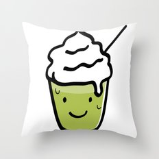 Green tea frappuccino Throw Pillow
