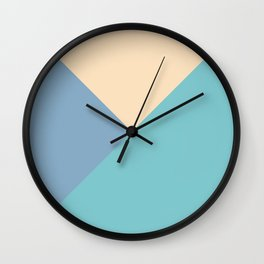 Green and blue and beige triangular pastel background Wall Clock