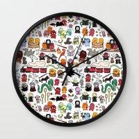 potter Wall Clocks featuring Kawaii Harry Potter Doodle by KiraKiraDoodles