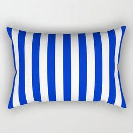 Cobalt Blue and White Vertical Beach Hut Stripe Rectangular Pillow