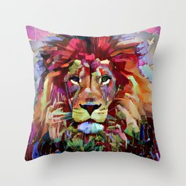 Colorful Lion Painting Throw Pillow