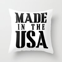 patriots Throw Pillows featuring Made in the USA - black text by Retro Designs