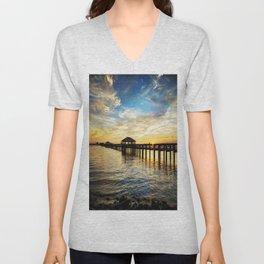 Biloxi Bay Sunset Unisex V-Neck