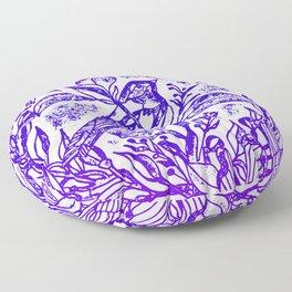 Songbird In Magnolia Wreath, Purple Linocut Floor Pillow