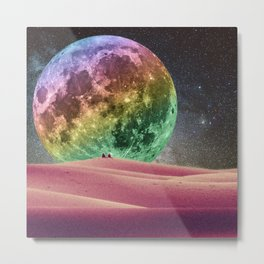 Rainbow Moonset Metal Print