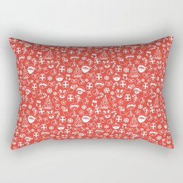 Red and White Christmas Pattern Rectangular Pillow