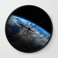 earth Wall Clocks featuring Earth by Space99
