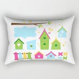 Beautiful colorful spring bird houses Rectangular Pillow