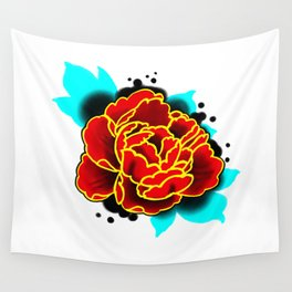 Red Peony  Wall Tapestry