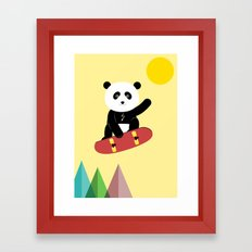 Panda on a skateboard Framed Art Print