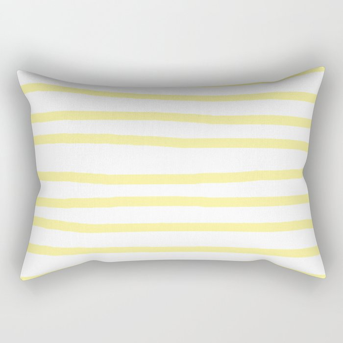 Simply Drawn Stripes in Pastel Yellow Rectangular Pillow