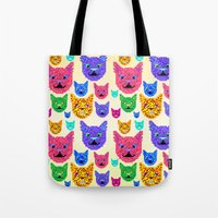 kit king Tote Bags featuring Kit-Pix by Pruko