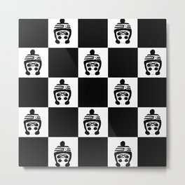 Panda Chess Metal Print
