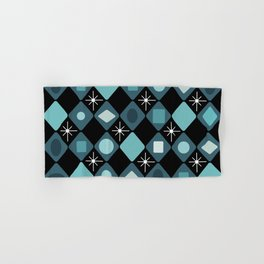 Mid Century Modern Black & Turquoise Diamonds Hand & Bath Towel