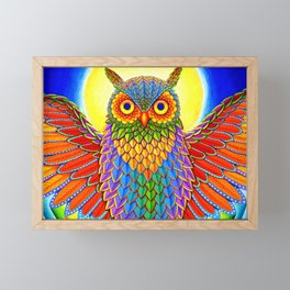 Colorful Rainbow Owl Framed Mini Art Print