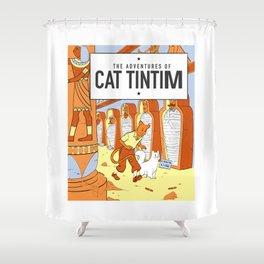 Belgian Comics Cat Tintim Shower Curtain