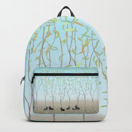 Morning Falling Leaves and Bunnies Backpack