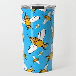 Bees pattern in blue Travel Mug