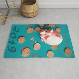 The Golden Pig New Year.traditional Chinese Symbol Piggy Bank Rug