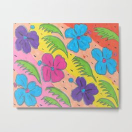 Rainbow Hibiscus and Monstera Leaves Metal Print