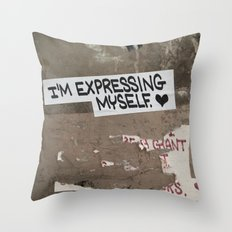 i'm expressing myself Throw Pillow