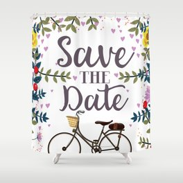 Save the Date Vintage bicycle Shower Curtain
