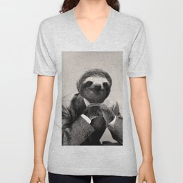 Gentleman Sloth with Assorted Pose Unisex V-Neck