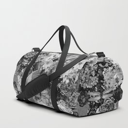 PARROTS MAGNOLIAS ROSES AND HYDRANGEAS TOILE PATTERN IN GRAY AND WHITE Duffle Bag