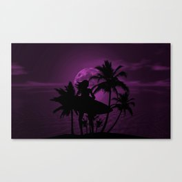 Purple Dusk with Surfergirl in Black Silhouette with Shortboard Canvas Print