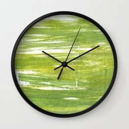 Moss green abstract watercolor Wall Clock