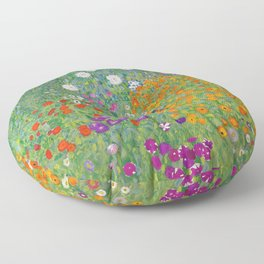 Gustav Klimt Flower Garden Floral Art Nouveau Floor Pillow
