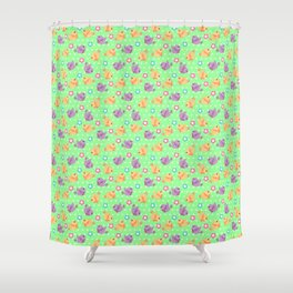 Freely Birds Flying - Fly Away Version 2 - Chartreuse Color Shower Curtain