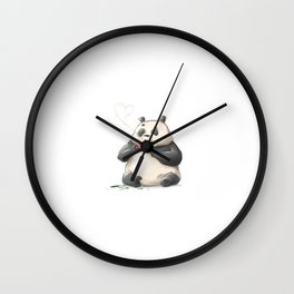 Panda Loves Coffee Wall Clock