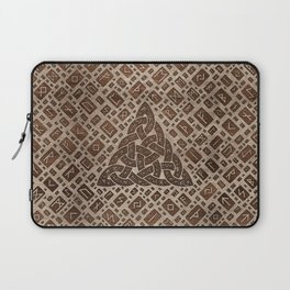 Triquetra and Runic Alphabet Wood and Gold #1 Laptop Sleeve
