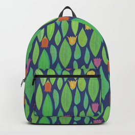 Flowers and Leaves - Midnight Backpack