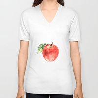 apple V-neck T-shirts featuring Apple by Anna Yudina