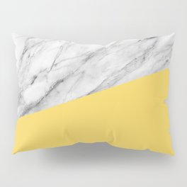 Marble and Primrose Yellow Color Pillow Sham