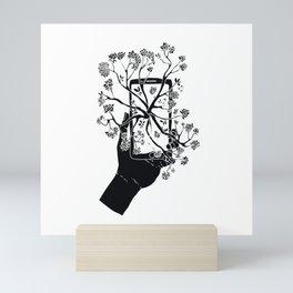 Break Free Cellphone Illustration - Hand holding cellphone growing a tree. Mini Art Print