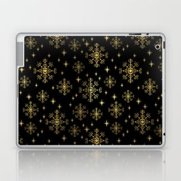 Gold and black snowflakes winter minimal modern painted abstract painting minimalist decor nursery Laptop & iPad Skin