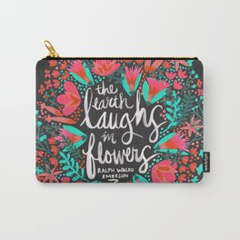The Earth Laughs in Flowers – Pink & Charcoal Carry-All Pouch